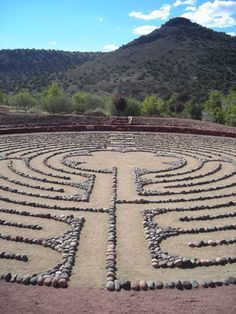 Walk into the mystery/walk out with wisdom - Retreat activity Chartres-type labyrinth rings) Angel Valley Retreat Center Labyrinth Walk, Labyrinth Garden, Labrynth, Walking Meditation, Medicine Wheel, Cosmos, Land Art, Garden Art, Garden Design