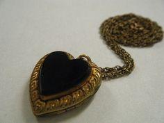 Vintage Locket Necklace Black Heart Mourning by broochonmyback59, $40.00