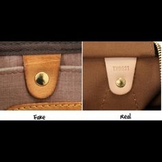 More Authentic vs. Fake Pics Be careful out there... Last pic shows authentic stitching and name stamp. In third pic left is real right is fake.  Also, vintage pieces will not have date code, but there are ways to tell!  Pics found on internet. Louis Vuitton Bags