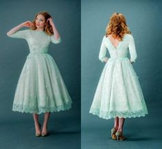 2015, Vintage Lace, Bateau Neck, Half Sleeves, Mint Green, Tea Length, Backless Spring Party/Prom Dress.