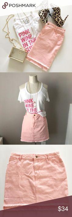 Pink Denim Skirt. Pink denim skirt by Honey Punch. 5 pockets, frayed hem. 100% Cotton. Honey Punch Skirts Mini