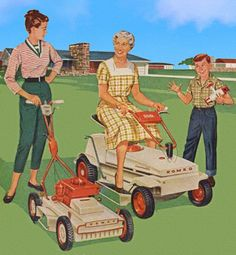 Mower Line-up - detail from 1959 Homko Lawnmower ad.