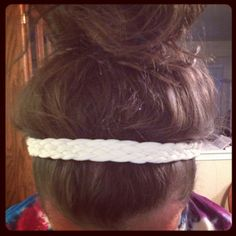 DIY tshirt headband this is a really cute idea...... i love the braid...this would be good to use for practice or to wear with a cute outfit and u dont have time to make ur hair look amazing.... maybe for a lazy day