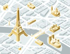 Isometric Paris royalty-free stock vector art