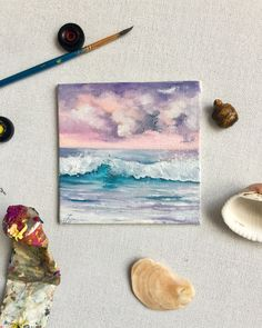 Oil painting by A. Cute Canvas Paintings, Small Canvas Art, Mini Canvas Art, Mini Paintings, Acrylic Painting Canvas, Acrylic Art, Easy Acrylic Paintings, Cool Art Drawings, Wow Art