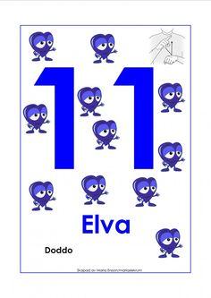 Sifferkort 1-12 med Babblarna och tecken Preschool Themes, Sign Language, Signs, Pre School, Speech Therapy, Mathematics, Diy For Kids, Symbols, Letters