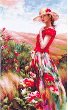 Luca-S Local Color Kit & Frame Counted Cross-Stitch Kit Painting People, Woman Painting, Dance Paintings, Landscape Paintings, Tapestry Kits, Local Color, Cross Stitch Pictures, Cross Stitch Kits, Portrait Art