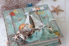 Aprende a hacer tu mini álbum marinero con cierto aire vintage y un barquit Mini Albums, Mini Album Scrap, Mini Photo Albums, Mini Scrapbook Albums, Travel Scrapbook, Trippie Redd, Tutorial Scrapbook, Decoupage, Mini Books