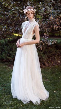divine atelier 2017 bridal butterfly sleeves high round neck v neck tulle skirt bohemian romantic a  line wedding dress (unnamed10) sdv