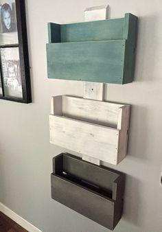 Kitchen organizer kitchen storage homework bins by TheWoodenOwl