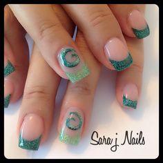 Koru acrylic nail design love them with blue or black shade