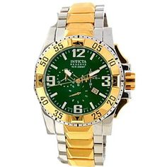 39a52f257c1 Invicta 10207 Men s Reserve Excursion Green Dial Two Tone Gold Plated  Bracelet Chronograph Dive Watch Gold