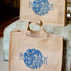 Like the idea of having monogrammed goodie bags with a candy bar (not burlap though just maybe white paper?)