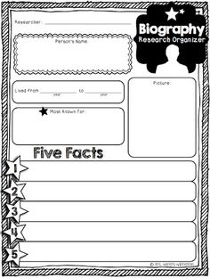 Mini Biography Organizer & Writing Paper (expository writing, research, nonfiction text)