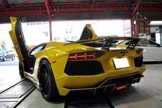 Bright Yellow Lamborghini Aventador by Bond Cars Osaka rear side doors up