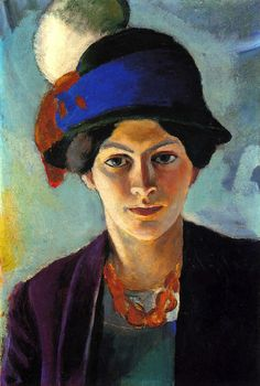 August Macke, Portrait of the artist's wife with a hat, 1909