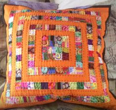 Patchwork cushion; stash buster with Kaffe fasset fabric