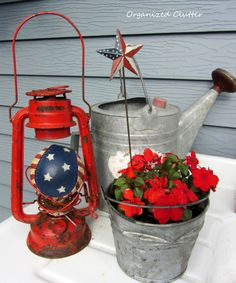 Patriotic Holiday Junk On The Potting Bench