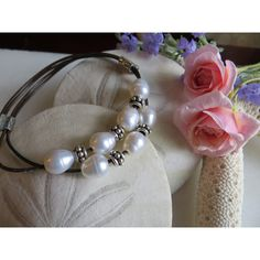 Double Leather Bracelet, Freshwater Pearl Bracelet, 30th Wedding... (€26) via Polyvore featuring jewelry, bracelets, formal jewelry, sterling silver jewelry, adjustable bangle, sterling silver birthstone jewelry and cultured pearl jewelry