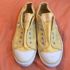 Yellow Converse One Star Used, but still in good condition. There is a little wear on them but nothing noticeable.  NO TRADES. NO HOLDS. NO MERC@RI  Please make any offers through the offer button   Questions? Just ask! EVERYTHING MUST GO! Ask me about my bundle discounts!  Converse Shoes Sneakers