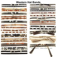 Cowboy Hat Bands and Western Hat Bands over 150 Hatbands available in various styles, colors and leathers, concho, rhinestone, feathers and more!