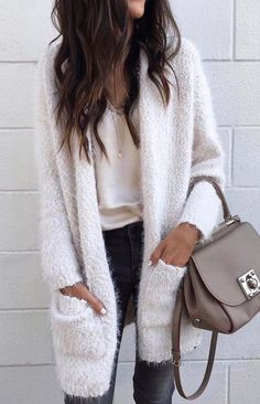 White over-sized cardigan.