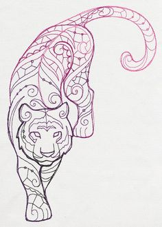 52 new Ideas for embroidery designs fashion ideas urban threads Ribbon Embroidery, Embroidery Patterns, Machine Embroidery, Embroidery Stitches, Embroidery Tattoo, Tiger Design, Tiger Tattoodesign, Tiger Art, Tiger Outline