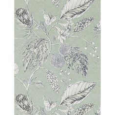 Shop for Wallpaper at Style Library: Amborella by Harlequin. A botanical vintage wallpaper design featuring delicately. Harlequin Wallpaper, Print Wallpaper, New Wallpaper, Fabric Wallpaper, Wallpaper Roll, Pattern Wallpaper, Painted Rug, Made To Measure Curtains, Printmaking