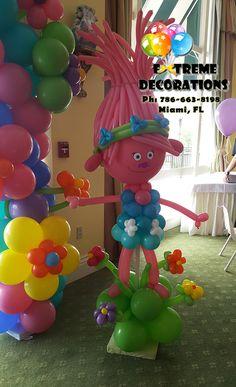 Trolls theme Balloon Sculpture. Trolls Birthday Party idea. Party decorations Miami. Balloon arch.  www.extremedecorations.com Extreme Decorations Miami Ph: 786-663-8198