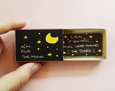 Carte inspirée d'amusement» objectif pour la Lune - même si vous la manquez, vous atterrirez parmi les étoiles» Matchbox / coffret cadeau / Message box / OT100