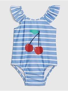 Gap Babies' Baby Cherry Ruffle Swim One-Piece Rain Kids Bathing Suits, Kids Suits, Baby Bathing, Baby Girl Swimwear, Baby Girl Swimsuit, Trendy Baby Clothes, Baby Kids Clothes, Baby Swimming, Dance Leotards