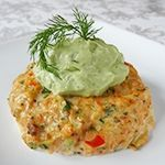Fresh Salmon Cakes with Avocado Tartar Sauce. All phases.