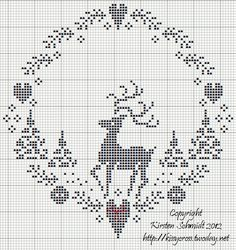 rudolph by kissy; Christmas reindeer heart wreath cross stitch point de croix