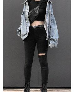Jacket Grunge Outfits, Ripped Jeans, Black Jeans, Street Wear, High Fashion, Alternative, Tattered Jeans, Couture, Haute Couture