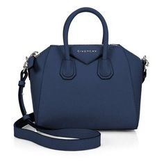 Givenchy Antigona Mini Leather Satchel ❤ liked on Polyvore featuring bags, handbags, blue leather purse, givenchy handbags, mini handbags, leather satchel handbags and leather purses