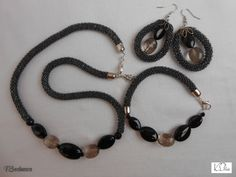 Black exquisite jewelry set Perfect gift for your favorite earring necklace Bracelet set fashion from the future of 2017 set bead set by SKstyleArt on Etsy