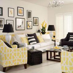 Gelbe monochrome Wohnzimmer Wohnideen Living Ideas Interiors Decoration