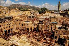 Марокко, Фес, цех по выделке кожи под открытым небом (Марокко)