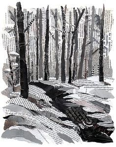 winter collage; neutral  Idea...use ripped paper for b/w landscape like this, or use coloured magazine pics for torn landscape in natural colours (sim. to my Ted Harrison collage project)