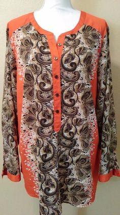 LIZ CLAIBORNE Women's PLUS Size 3X Patterned Blouse Brown/Rust *E