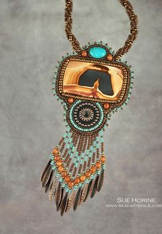 Picture Rhyolite with Turquoise Bead Embroidered by sedonaskye, $250.00