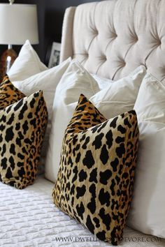 Animal Print Living Room Decor Beautiful Leopard Pillows and Tufted Headboard Sofa Pillows, Throw Pillows, Accent Pillows, Chair Pillow, Decor Pillows, Lumbar Pillow, Home Bedroom, Bedroom Ideas, Master Bedroom