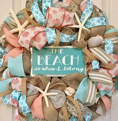 The Beach is Where I Belong Burlap and Mesh Wreath with Starfish and Sea Shells; Nautical Beach Shore Door Decor Wreath; Summer Decor Wreath by ChewsieCreations on Etsy