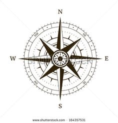 Navigation compass wind rose vector illustration - stock vector - tattoo