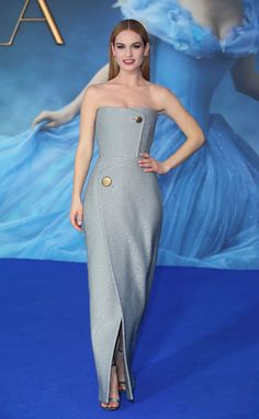 Lily James in Balenciaga at the Cinderella London premiere. See all her fairy tale red carpet looks.