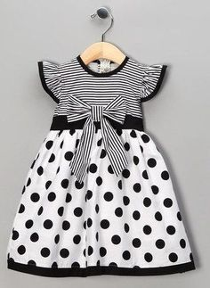 Take a look at this Black Polka Dot Stripe Dress - Toddler & Girls by Maggie Peggy on today! by bernadette Fashion Kids, Little Girl Fashion, Fashion 2016, Trendy Fashion, Toddler Girl Dresses, Toddler Outfits, Kids Outfits, Toddler Girls, Junior Outfits