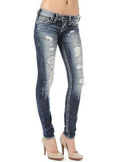 silver ripped skinny jeans