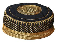 Amazon.com : Black Metallic Gold Embroidered Padded & Quilted Soft Kufi Hat Large Skull Cap 23-inch : Everything Else