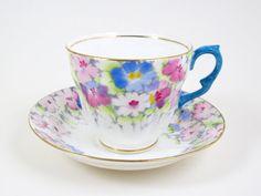 Vintage Crown Staffordshire Tea Cup Hand Painted Pink Blue Pastel Flowers 1930+
