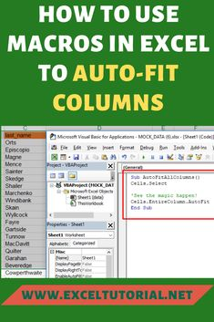 If you want to make your columns more presentable in your excel then use macros to auto-fit them. We understand in excel column widths are all over and that does not look cool and presentable. Computer Jobs, Computer Help, Microsoft Excel Formulas, Excel Macros, Computer Shortcut Keys, How To Study Physics, Software Apps, Life Skills, Look Cool